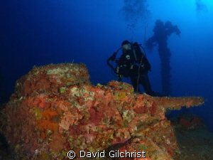 Three Man tank on deck of San Francisco Maru, Truk Lagoon by David Gilchrist